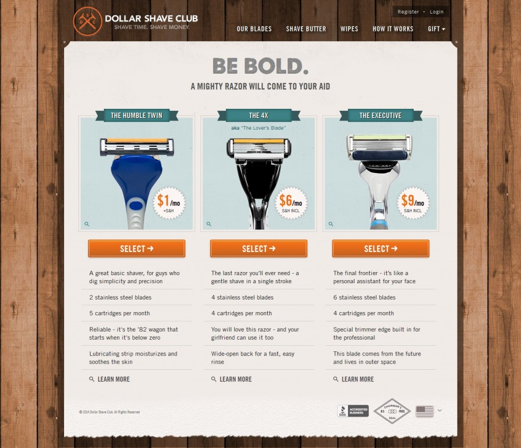 Dollar shave club detail