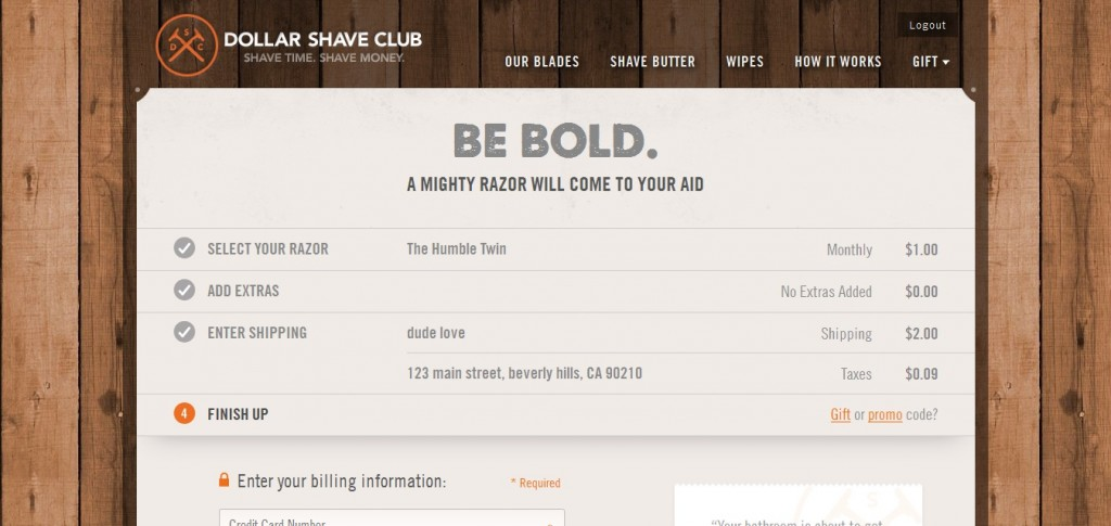 Dollar shave club shipping page