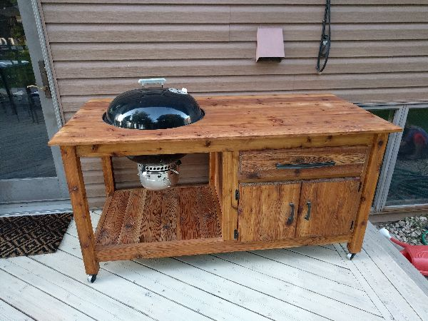 diy grill cart for charcoal kettle